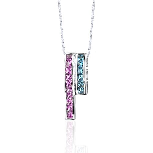 Oravo 3.00 Carats Total Weight Princess Cut Pink Sapphire and Swiss Blue Topaz Slider Pendant Necklace