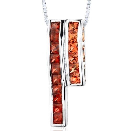 3.00 Carats Total Weight Princess Cut Garnet and Padparascha Sapphire Slider Pendant Necklace