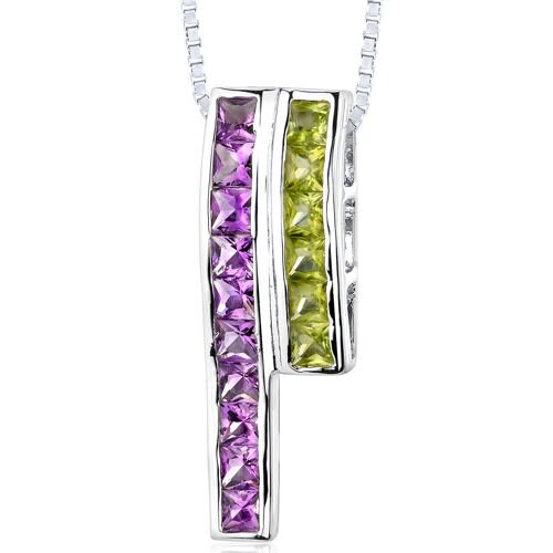 2.50 Carats Total Weight Princess Cut Amethyst and Peridot Slider Pendant Necklace
