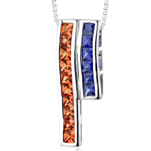 3.00 Carats Total Weight Princess Cut Padparascha Sapphire and Blue Sapphire Slider Pendant ...