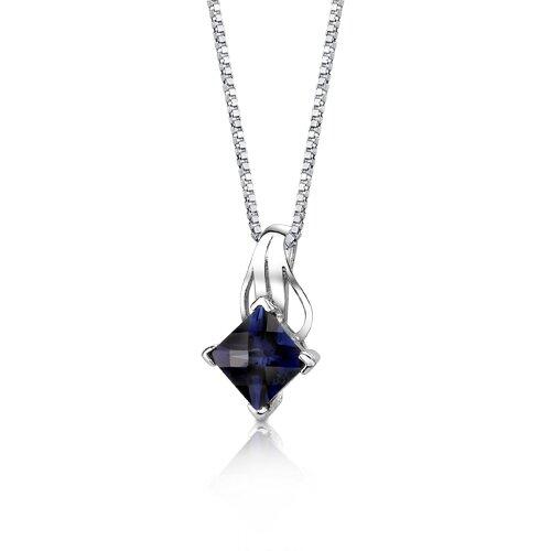 Oravo Sensational Glamour Princess Checkerboard Cut Blue Sapphire Pendant in Sterling Silver