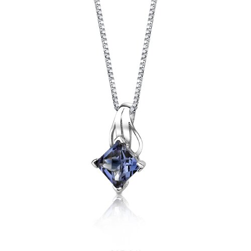 Oravo Sensational Glamour Princess Checkerboard Cut Alexandrite Pendant in Sterling Silver