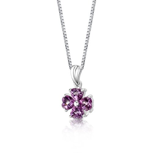 Oravo Irresistible Desire Heart Shape Checkerboard Cut Pink Sapphire Pendant in Sterling Silver