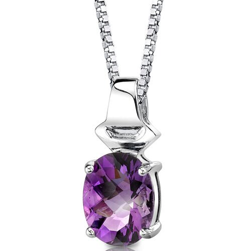 Exquisite Glamour 2.25 Carats Oval Shape Checkerboard Cut Amethyst Pendant in Sterling Silver