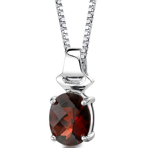 Oravo Exquisite Glamour 3.25 Carats Oval Shape Checkerboard Cut Garnet Pendant in Sterling Silver