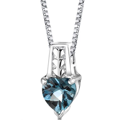 Cherished Forever 2.25 Carats Heart Shape London Blue Topaz Pendant in Sterling Silver