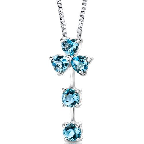 Floral Passion 2.75 Carats Multishape Swiss Blue Topaz Pendant in Sterling Silver