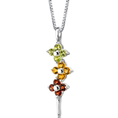 Flower Power 1.50 Carats Round Shape Multicolor Pendant in Sterling Silver