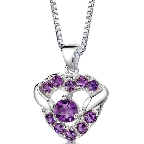 Passion Forever 1.00 Carat Round Shape Amethyst Heart Pendant in Sterling Silver