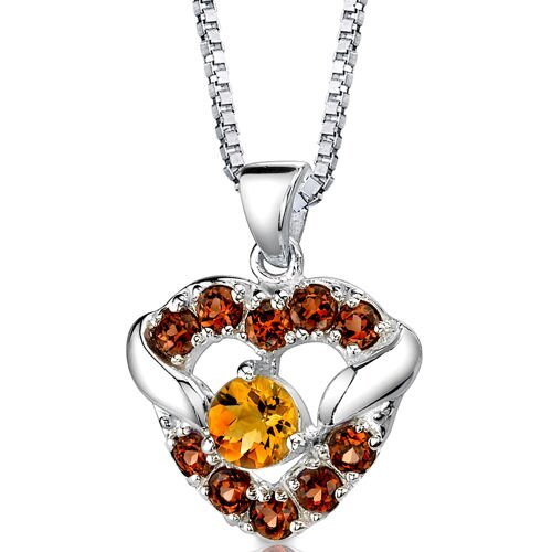 Passion Forever 1.50 Carats Round Shape Citrine and Garnet Heart Pendant in Sterling Silver