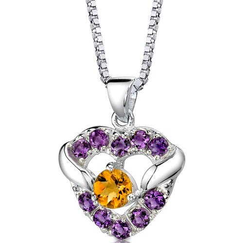 Passion Forever 1.00 Carat Round Shape Citrine and Amethyst Heart Pendant in Sterling Silver