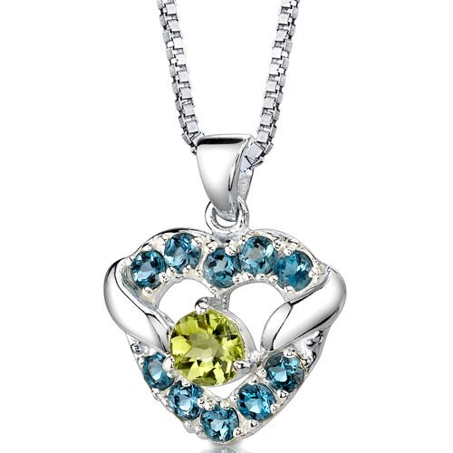 Passion Forever 1.25 Carats Round Shape Peridot and London Blue Topaz Heart Pendant in Sterling ...