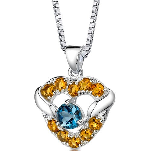 Passion Forever 1.00 Carat Round Shape London Blue Topaz and Citrine Heart Pendant in Sterling ...