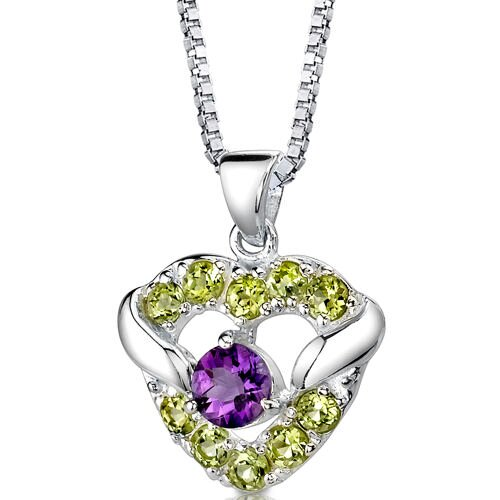 Passion Forever 1.00 Carat Round Shape Amethyst and Peridot Heart Pendant in Sterling Silver