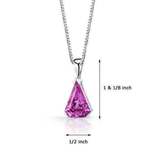 Oravo Chevron Cut 6.75 Carats Pink Sapphire Pendant in Sterling Silver