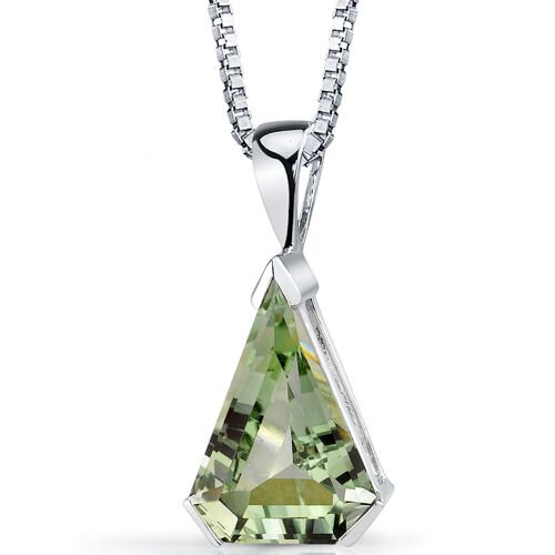 Chevron Cut 6.75 Carats Green Amethyst Pendant in Sterling Silver