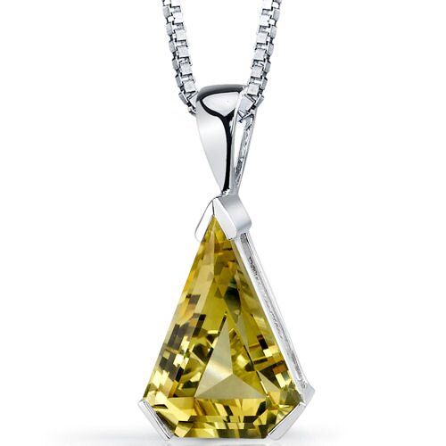 Chevron Cut 6.75 Carats Lemon Quartz Pendant in Sterling Silver