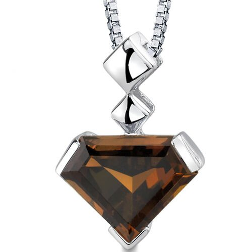 Superman Cut 6.25 Carats Smoky Quartz Pendant in Sterling Silver
