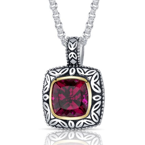 Cushion Cut 5.50 Carats Ruby Antique Style Pendant in Sterling Silver