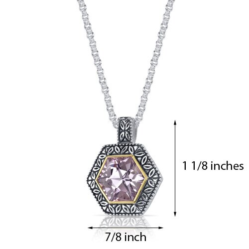 Oravo Hexagon Cut 6.00 Carats Pink Amethyst Antique Style Pendant in Sterling Silver