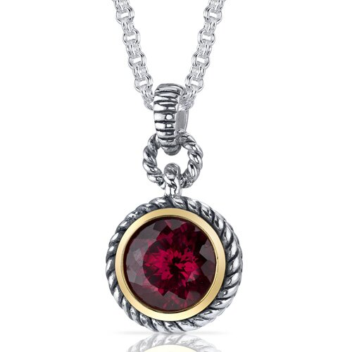 Portuguese Cut 5.25 Carats Ruby Twisted Cable Pendant in Sterling Silver