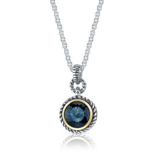 Oravo Portuguese Cut 4.50 Carats London Blue Topaz Twisted Cable Pendant in Sterling Silver