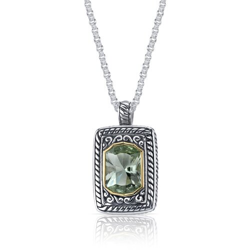 Oravo Baroness Cut 5.50 Carats Green Amethyst Locket Style Pendant in Sterling Silver