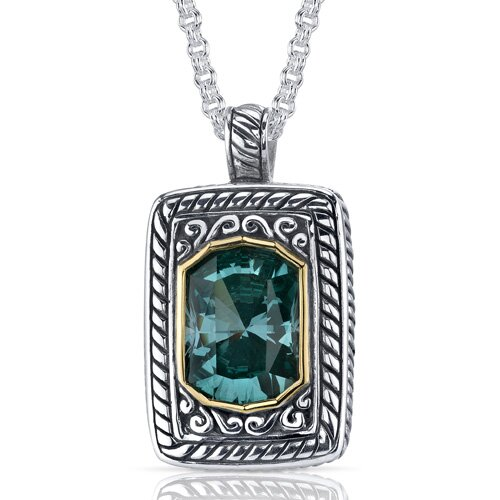Oravo Baroness Cut 7.75 Carats Green Spinel Locket Style Pendant in Sterling Silver
