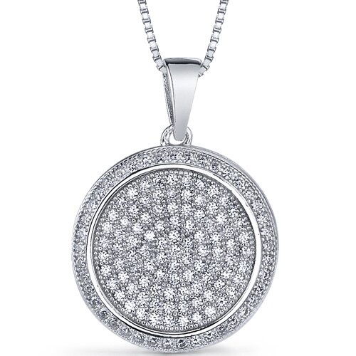 Drop Dead Gorgeous Micro Pave Cubic Zirconia Flat Circle Pendant in Sterling Silver