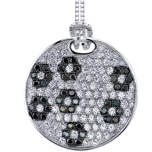 Gleaming Black and White Floral Micro Pave Cubic Zirconia Flat Circle Pendant in Sterling ...