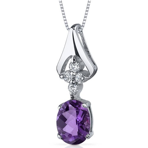 Ethereal Enchantment 1.00 Carat Oval Shape Amethyst Pendant in Sterling Silver