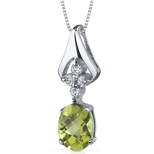 Ethereal Enchantment 1.25 Carats Oval Shape Peridot Pendant in Sterling Silver