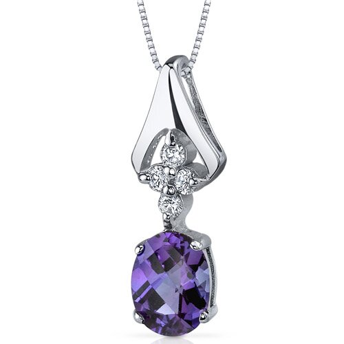 Ethereal Enchantment 1.75 Carats Oval Shape Alexandrite Pendant in Sterling Silver