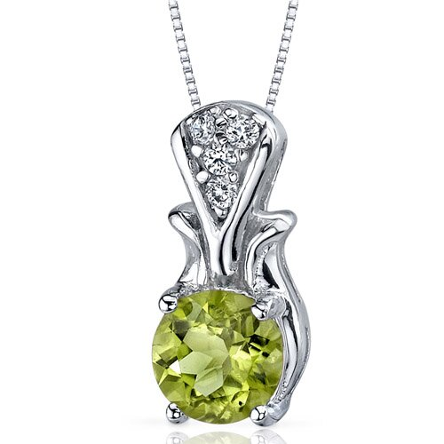 Oravo Regal Radiance 1.25 Carats Round Shape Peridot Pendant in Sterling Silver