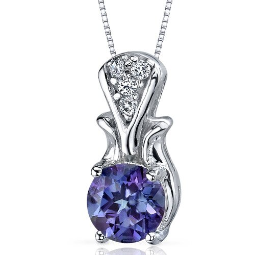 Regal Radiance 1.75 Carats Round Shape Alexandrite Pendant in Sterling Silver