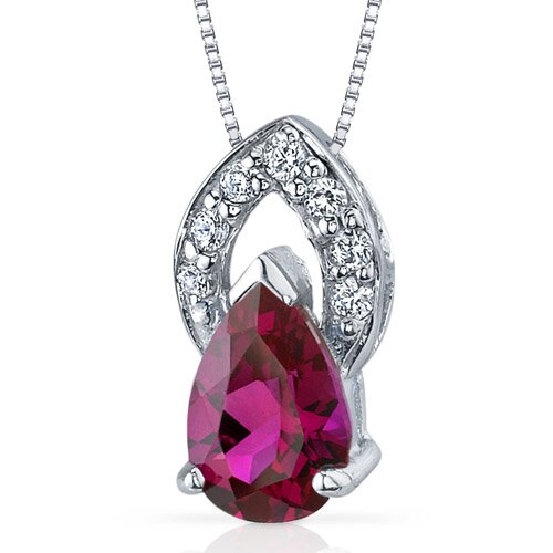Oravo Captivating Allure 1.75 Carats Pear Shape Ruby Pendant in Sterling Silver