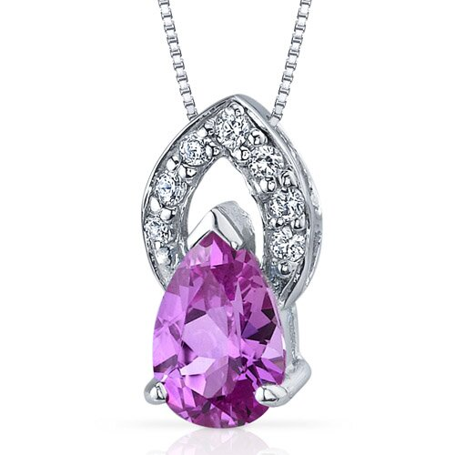 Captivating Allure 1.50 Carats Pear Shape Pink Sapphire Pendant in Sterling Silver