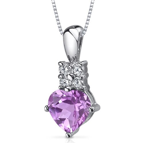 Oravo Captivating Love 1.50 Carats Heart Shape Pink Sapphire Pendant in Sterling Silver