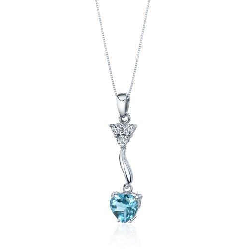 Oravo Glamorous Love 2.00 Carats Heart Shape Swiss Blue Topaz Pendant in Sterling Silver