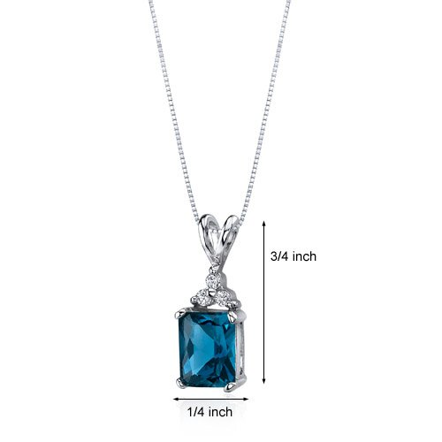 Oravo Dynamic Seduction 2.50 Carats Radiant Shape London Blue Topaz Pendant in Sterling Silver