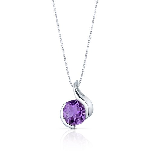Oravo Stunning Sophistication 1.75 Carats Round Shape Amethyst Pendant in Sterling Silver