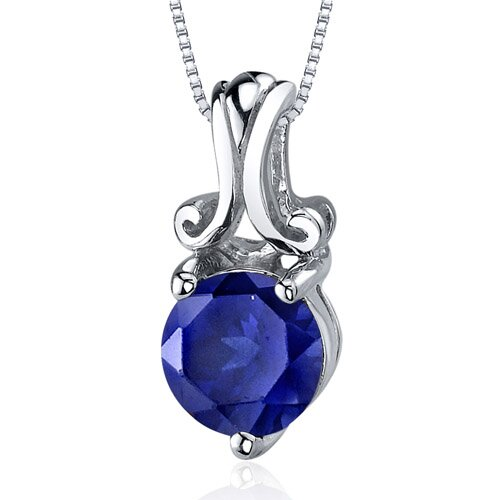 Refined Charm 2.00 Carats Round Cut Blue Sapphire Pendant in Sterling Silver