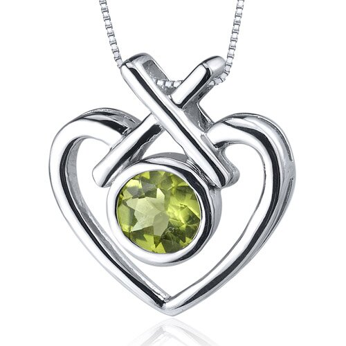 Oravo Art of Love 0.75 Carat Round Cut Peridot Pendant in Sterling Silver