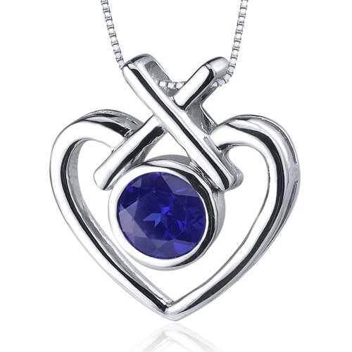Art of Love 1.25 Carats Round Cut Blue Sapphire Pendant in Sterling Silver