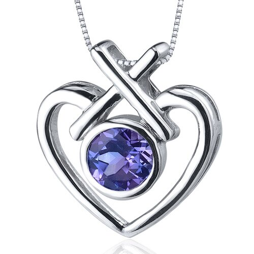Oravo Art of Love 1.25 Carats Round Cut Alexandrite Pendant in Sterling Silver