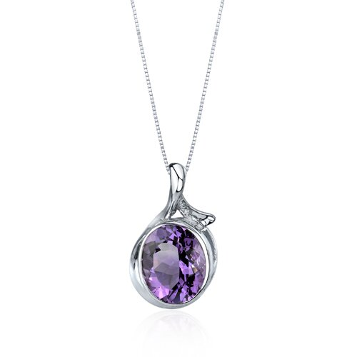 Oravo Boldly Colorful 4.00 Carats Oval Cut Amethyst Pendant in Sterling Silver
