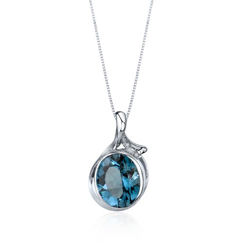 Oravo Boldly Colorful 5.00 Carats Oval Cut London Blue Topaz Pendant in Sterling Silver