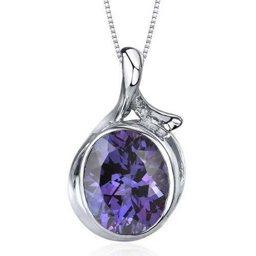 Boldly Colorful 6.75 Carats Oval Cut Alexandrite Pendant in Sterling Silver