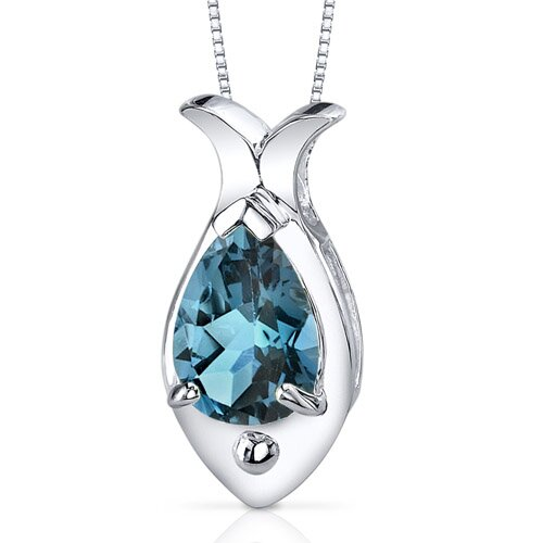 Oravo Fish Design 2.00 Carats Pear Shape London Blue Topaz Pendant in Sterling Silver