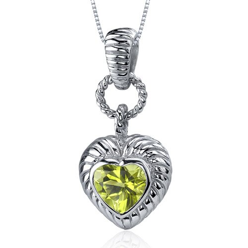 Gallant Love 1.25 Carats Heart Shape Peridot Pendant in Sterling Silve